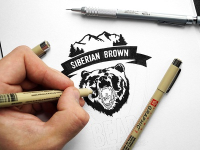 «Siberian Brown Bear: Strength & Endurance» in progress brown siberian siberia bear logotype logo illustration art calligraphy letters lettering handlettering