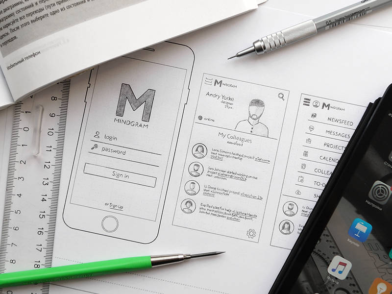 Mindgram: CRM system for your business crm progress wireframe ui sketching prototype iphone ipad mobile app