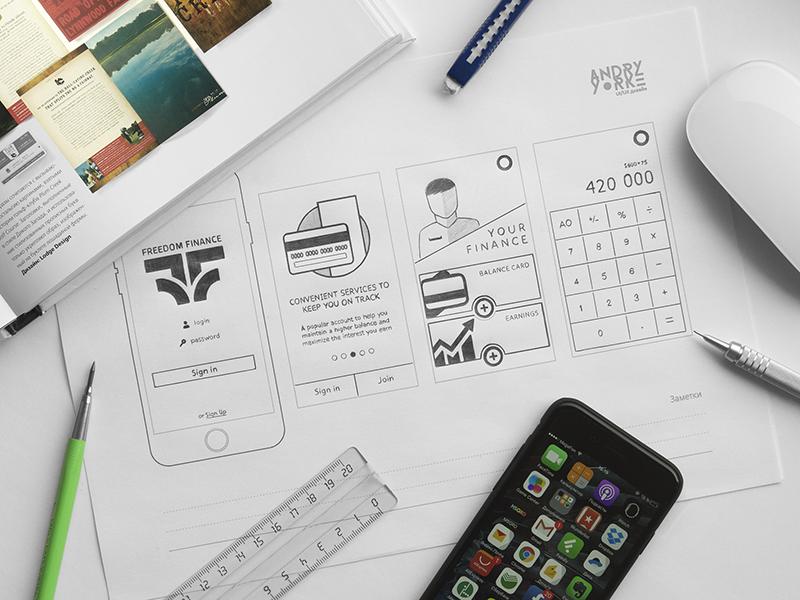 Freedom Finance App pencil prototyping sketch wireframe ui sketching prototype progress mobile iphone finance app