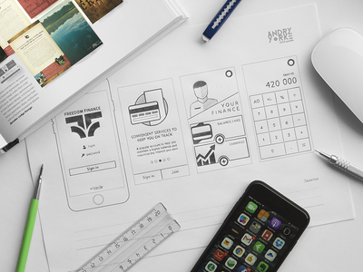 Freedom Finance App pencil prototyping sketch wireframe ui sketching prototype progress mobile iphone finance app