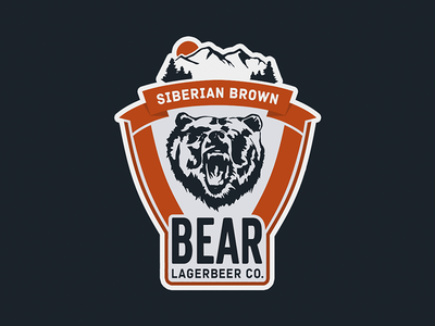 Bear Lager sticker emblem lager mountain mountains siberia bear beer logotype lettering