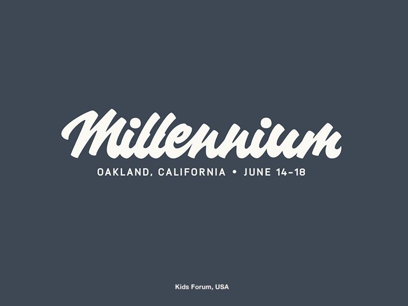Millennium Children's Forum forum kids millennium logotype logo lettering