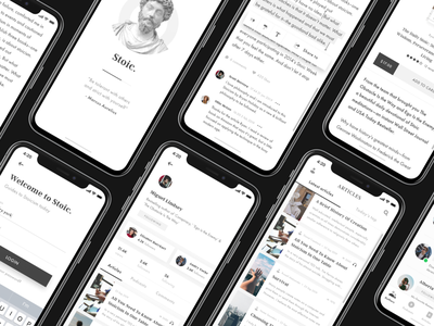 Stoic. Application preloader sign in profile card writers product design authors podcast article blog stoicism stoic ux ui mobile app design mobile design mobile mobile ui mobile app