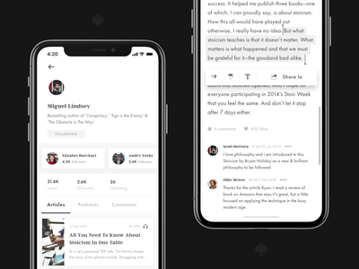Stoic. Application – Profile & Article stoicism stoic share likes comment text editor article podcast followers card profile ux ui mobile design mobile app design mobile app mobile ui mobile