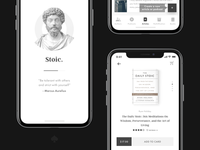 Stoic. Application – Splash Screen, Tab Bar & Store loading rate stoicism stoic tab tab bar splash screen store book ios ux ui mobile app design mobile ui mobile app mobile