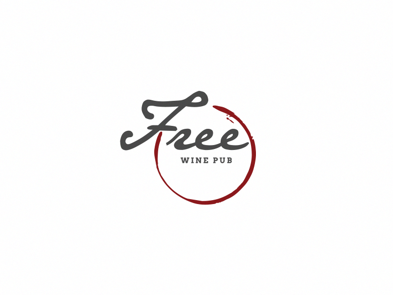 Free Wine Pub branding design logo pub