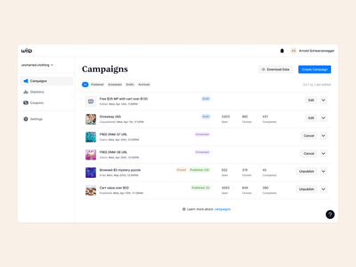 Wisp · Campaigns light ui marketing minimal ecomemrce saas dashboard