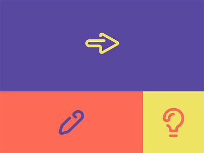 Icon set line bulb pen arrow icon