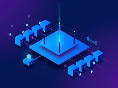 Herdius illustration connection bitcoin currency banking platform vector illustration isometric ico crypto herdius