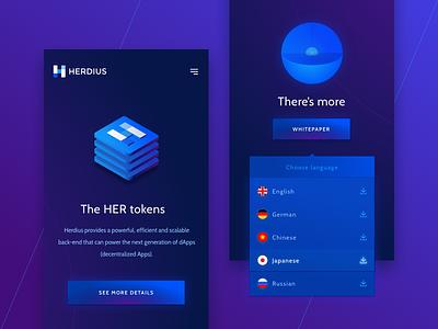 Herdius — Mobile rwd mobile crypto bitcoin illustration dark minimal isometric dropdown clean ui tech