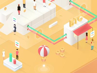 Assets flow - illustration baloon stage ico isometric illustration blockchain warm yellow