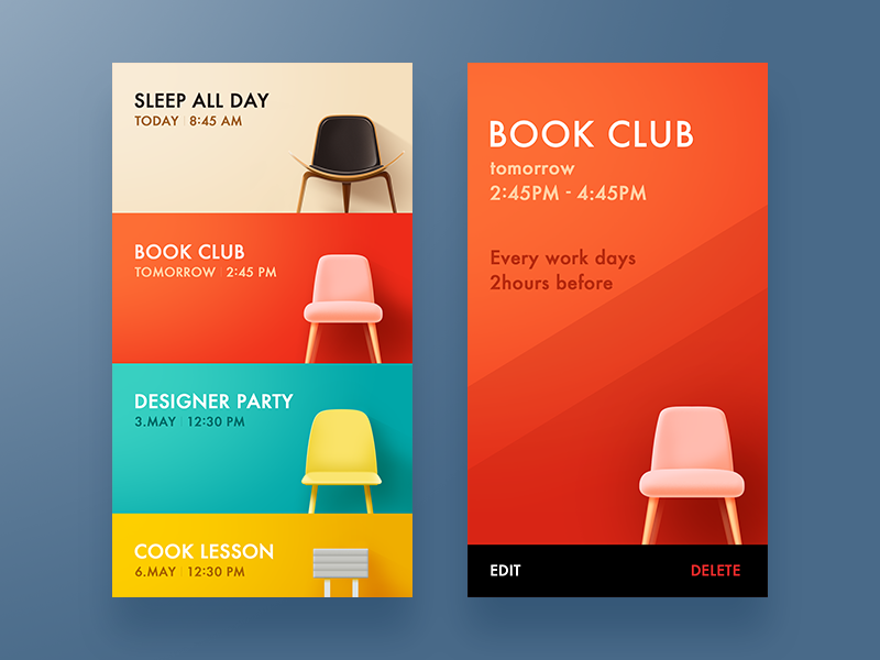 chair schedule app by vicon dribbble