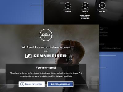 Sofar + Sennheiser Competition facebook contest sponsor landing page competition
