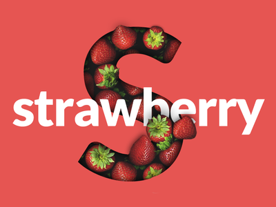S for Strawberry mask typography lettering fruit strawberry