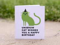 Unibrow Cat Card