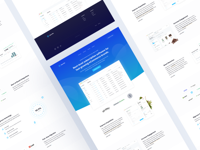 Upscribe — Site Design mockup iphone marketing website web blue ecommerce subscription ux ui page landing site