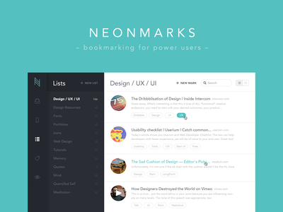 Neonmarks - Bookmarking for Power Users madebysan ui ux uruguay bookmarks app flat lists list listing links tags