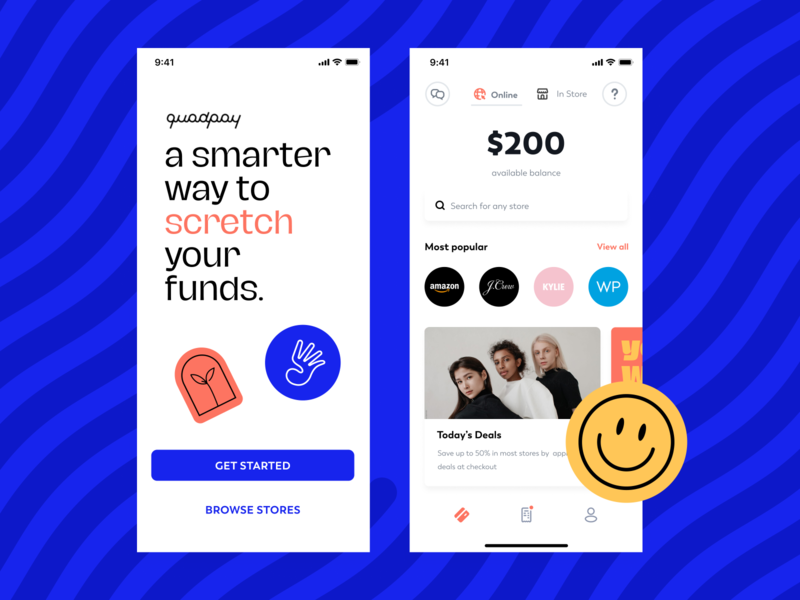 a smarter way to stretch your funds. stickers blue mobile ui ux shopping online card home ios finance fintech balance installments store stores payments login screens app