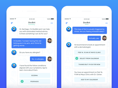 DocBot — AI Powered Medical Advice madebysan ui ux uruguay machine ai conversation medical doctor iphone ios chat bot