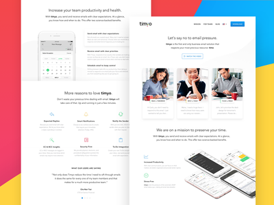 Timyo — Landing Page web time client email mobile website page landing