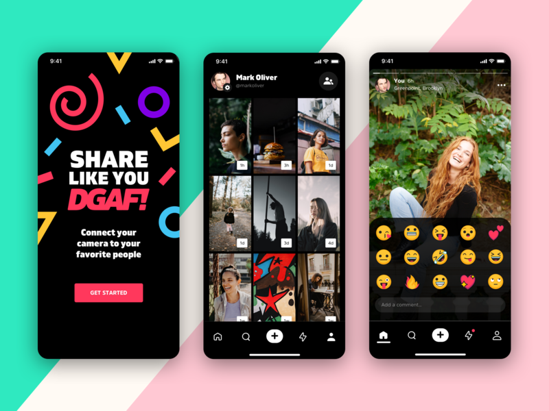 Connect your camera to your favorite people madebysan dgaf ml stories nav shapes emojis reactions profile social photo sharing ios iphone
