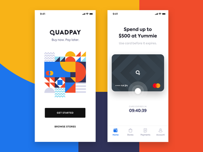 iOS App Exploration madebysan quadpay shapes branding credit card credit finances fin-tech fintech iphone app ios