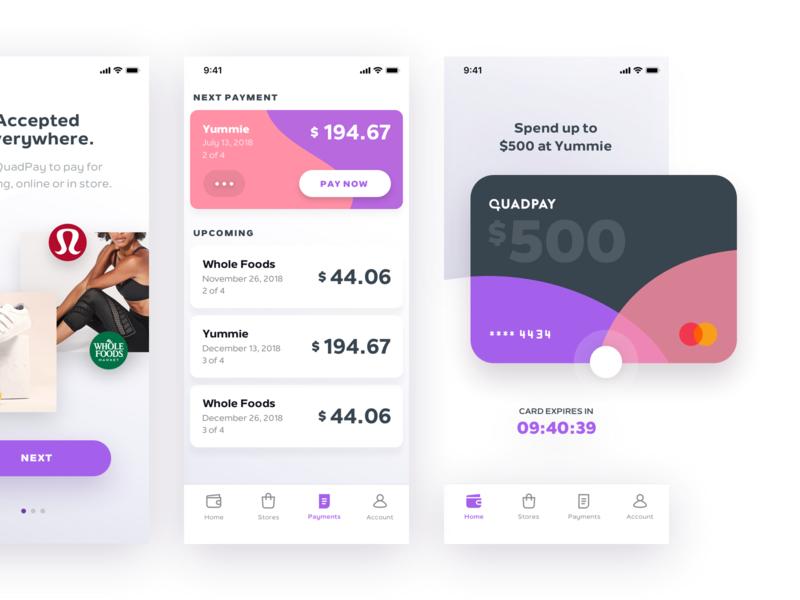iOS App Exploration #2 madebysan quadpay payments nav iphone orders credit card ios finance fin-tech fin tech branding app