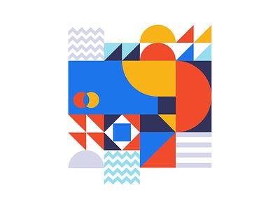 Shapes madebysan flat icon illustration semi circles square card branding edges red blue colors shapes geometic