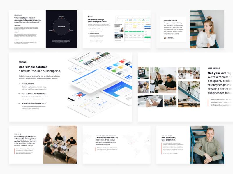 Agency Deck process branding studio agency company grid slides slide powerpoint keynote design google slides deck design portfolio ui work presentation sales deck webuild