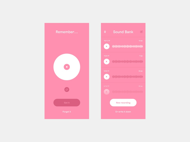 Speak and be heard voice recording audio calm pink design interface color simple app flat ui clean minimal