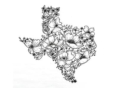 Texas Wildflowers drawing print flowers texas wildflower floral ink pen sketch illustration