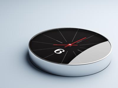 Chrome Clock 3D Render wall design product realism chrome clock 3d blender