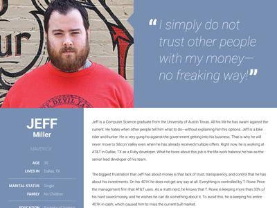 FinTech Product - Persona | Jeff