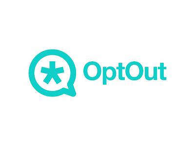 OptOut logo identity web browser optout brand branding minimal bright green feminist design logo asterix