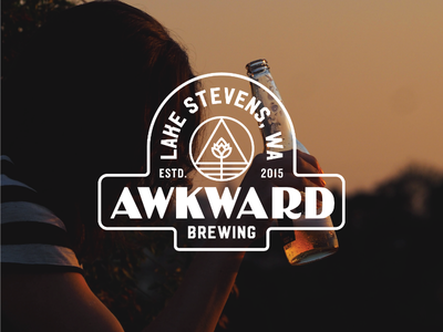 Logo concept for Awkward Brewing food drinking ale a hops identity branding brand logo badge stamp vintage america alcohol drink awkward brewing brewery beer
