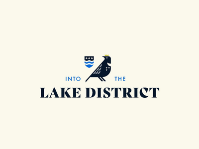 Logo concept for Into the Lake District branding serif traditional cream blue water flower brand logo lake district shield bird