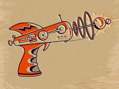 Ray Gun future atom science tech blue orange laser beam ray ray gun