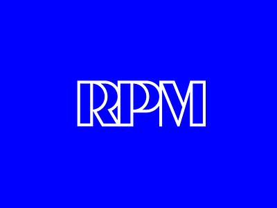 RPM logo logotype lettering serif typography blue speed music