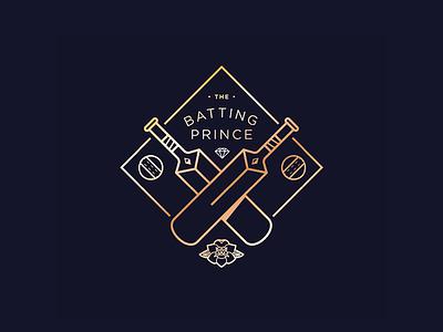 Cricket Badge Concept ball england rose regal rich gold prince bat cricket