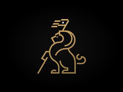 Unused Lion Concept masculine male african africa golden lion black gold black metallic branding logos logo geometry golden ratio lines republic star flag gold lion football