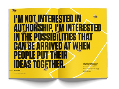 Use.Today Spread layout magazine presentation editorial bees wasp wasps quote stripes typography today earth world charity tungsten bold black yellow manchester bee