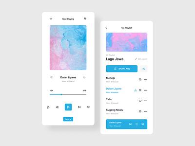 Music Streaming Mobile App music album audio player music player stream sound music streaming multimedia audio play podcast media blue app mobile streaming music