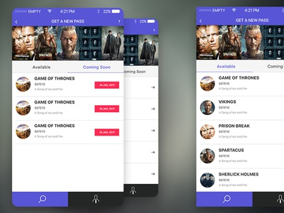 IOS App Design Concept for TV Series Passes #2 applestore pass app trendy design apple tv series app design ios