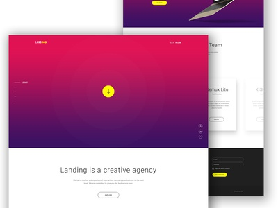 Landing - Agency Website Concept portfolio professional design creative user interface ui gradient psd landing agency