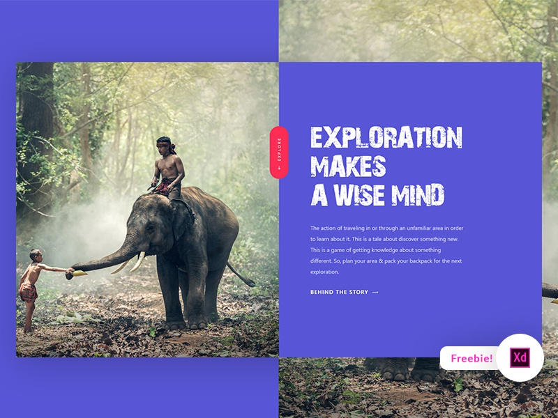 Exploration Landing Page – Adobe XD Freebie