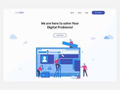 Landing Page for a Digital Studio agency portfolio saas software illustration landing