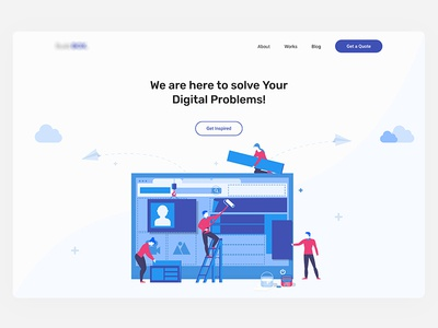 Landing Page for a Digital Studio agency portfolio saas software illustration landing