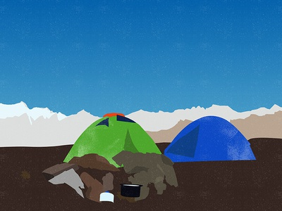 Illustration of a Campsite noise old classic himalaya trekking tent mountain illustration