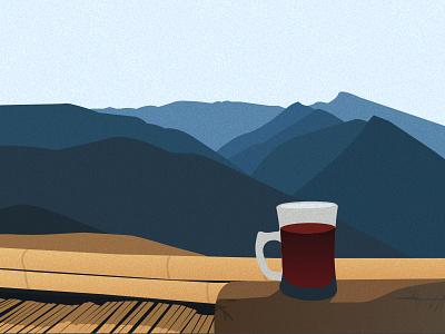 Hill Range - Illustration nature hill resort tea grain noise illustration mountain