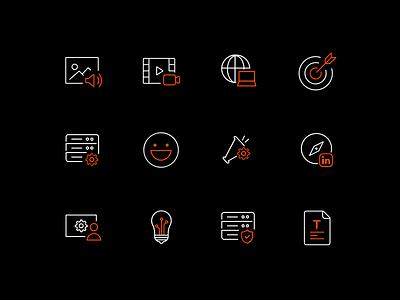 Thematic Icon Design website simple minimal thematic line icon dark icon